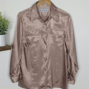 Vintage Satin Blush/Pink Button Front Shirt Size M